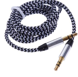 High Quality Nylon Fabric Braided 3.5mm Male to Male Stereo Jack Aux Audio Cable for Car Headphone