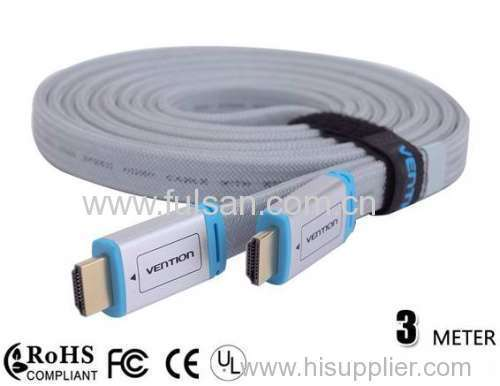 10FT Premium Gold Ultra High Speed V1.4 Flat HDMI cable 3M with Nylon Jacket