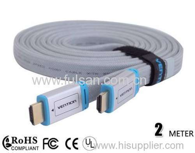 High Quality flat HDMI cable 2M 3D full 1080p Manufacturer