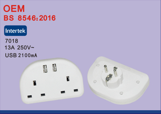 BS8546 Universal EU To UK Travel Power Plug Adapter Converter with USB