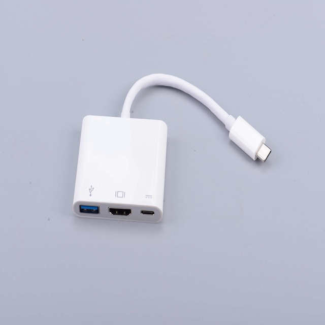 Black ABS Shell USB3.1 Type C To VGA Converter Adapter HUB Cable