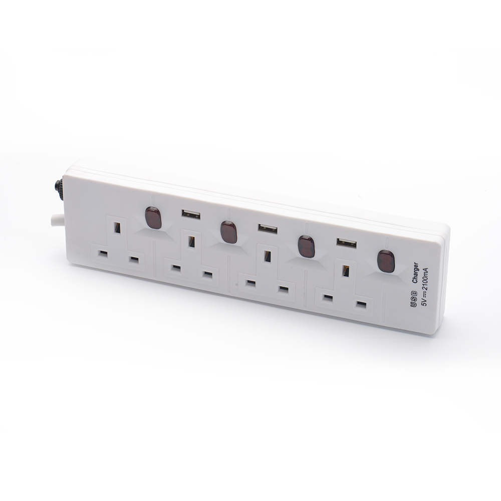 13A UK Style 4 Way Extension Cord with Switch 3pin Power Socket