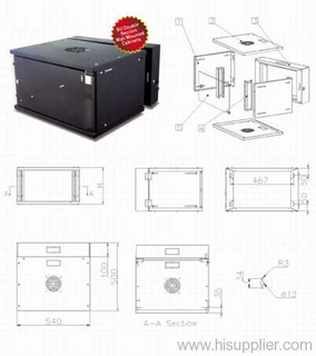 6u/9u/12u/15u double section wall mount network cabinet