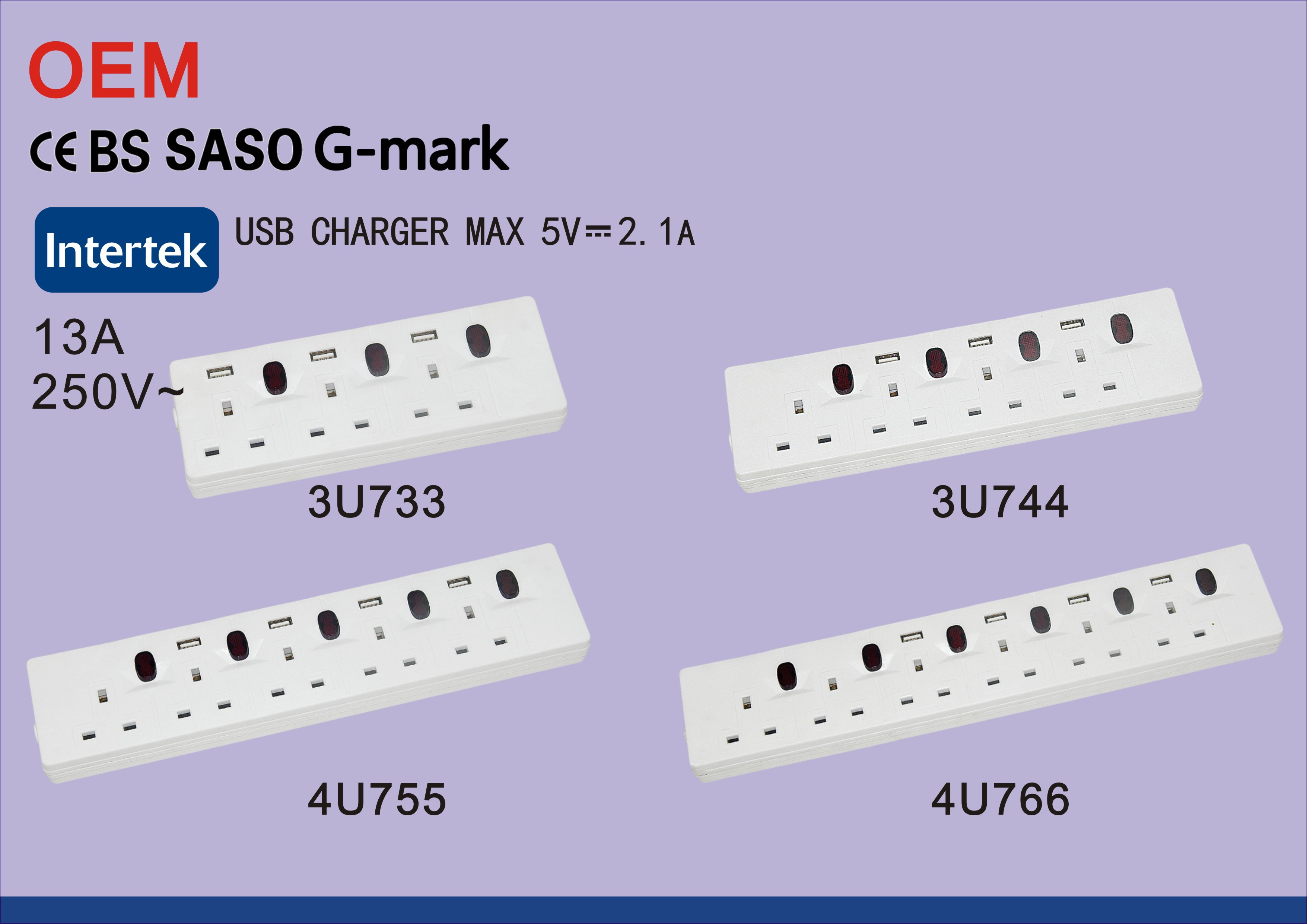 Good Quality Individually Switched 4 Outlets Power Strip with USB