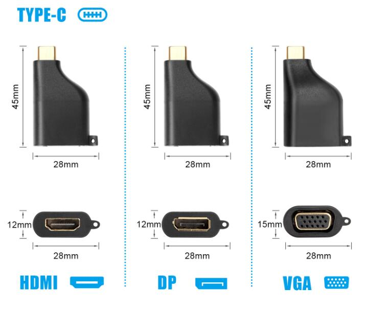 Portable 4 in 1 USB 3.1 Type C to Dp VGA Mini Dp HDMI 4K 30Hz Keychain Adapter